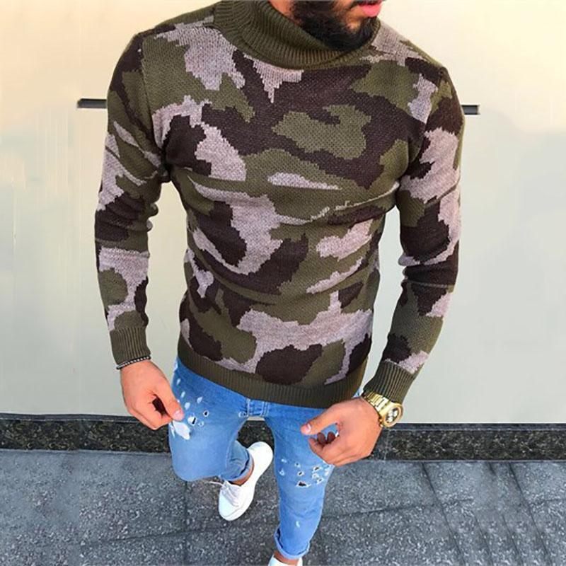 Mens Fashion Camouflage Long Sleeve Turtleneck Sweaters
