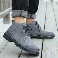 Men Fashion Casual Suede Lace-Up Flats Ankle Martin Boots