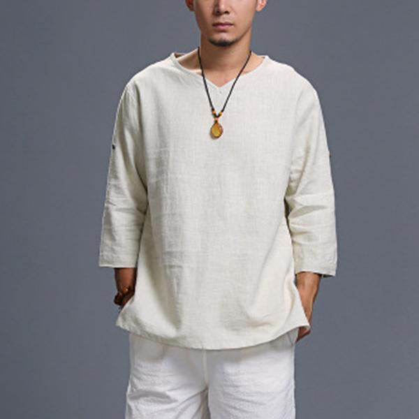 Mens Loose Casual Linen  Solid V-neck Half Sleeve T Shirts