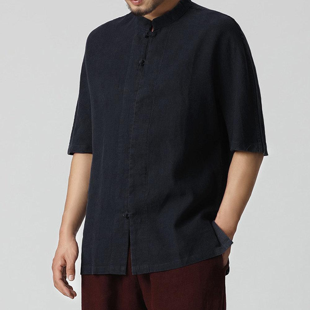 Mens Plus Size Loose Thin Buttons O-Neck Cotton Shirts