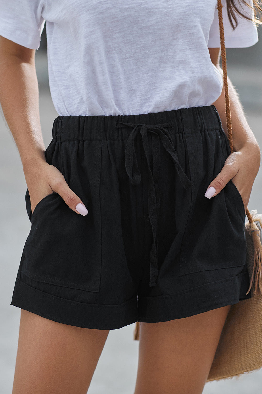 Super Comfy High Waist Elastic Waistband Lace Up Shorts