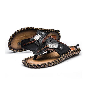 Men Hand-made Genuine Leather Beach Slippers