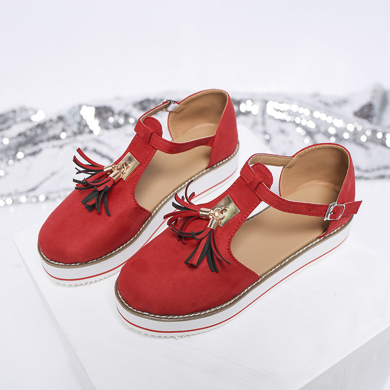 New Arrival Fashion Design Fringed Platform Mary Jane Shoes