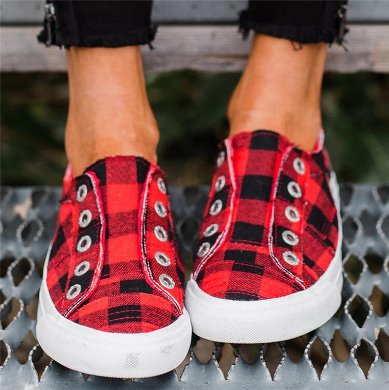 Women's Cute Plaid Flat Heel Canvas Loafers Shoes