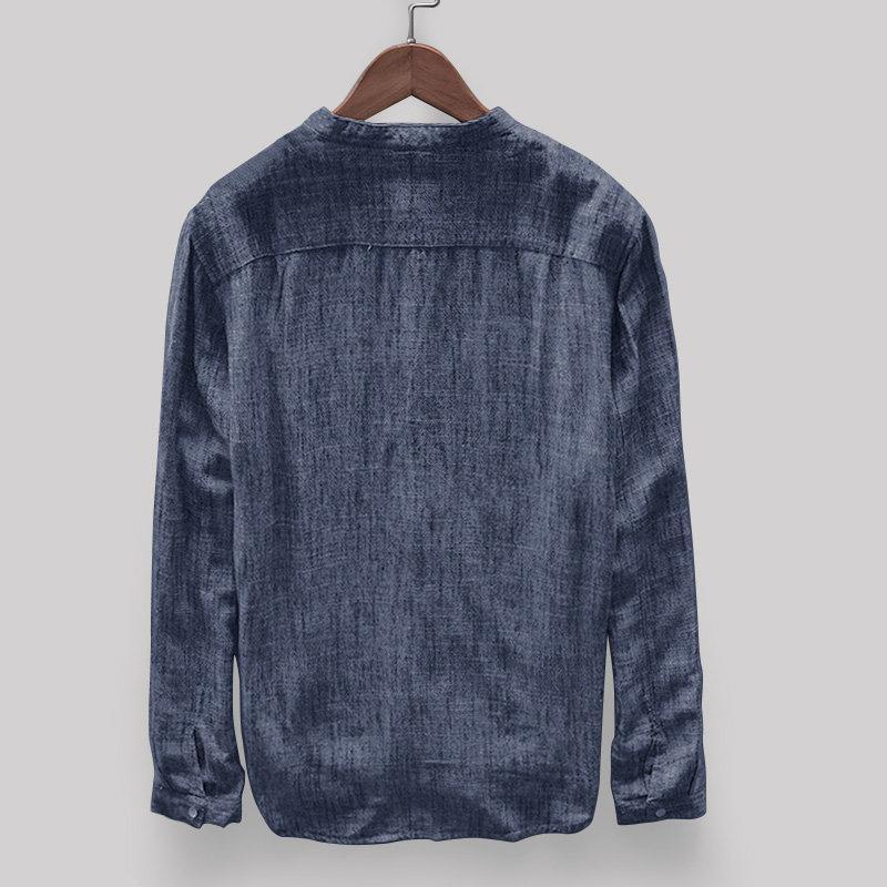 Solid Color Stand Collar Long Sleeve Loose Casual T-shirt
