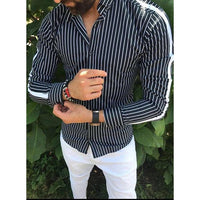 Men Striped Lapel Casual Long-Sleeved Shirt