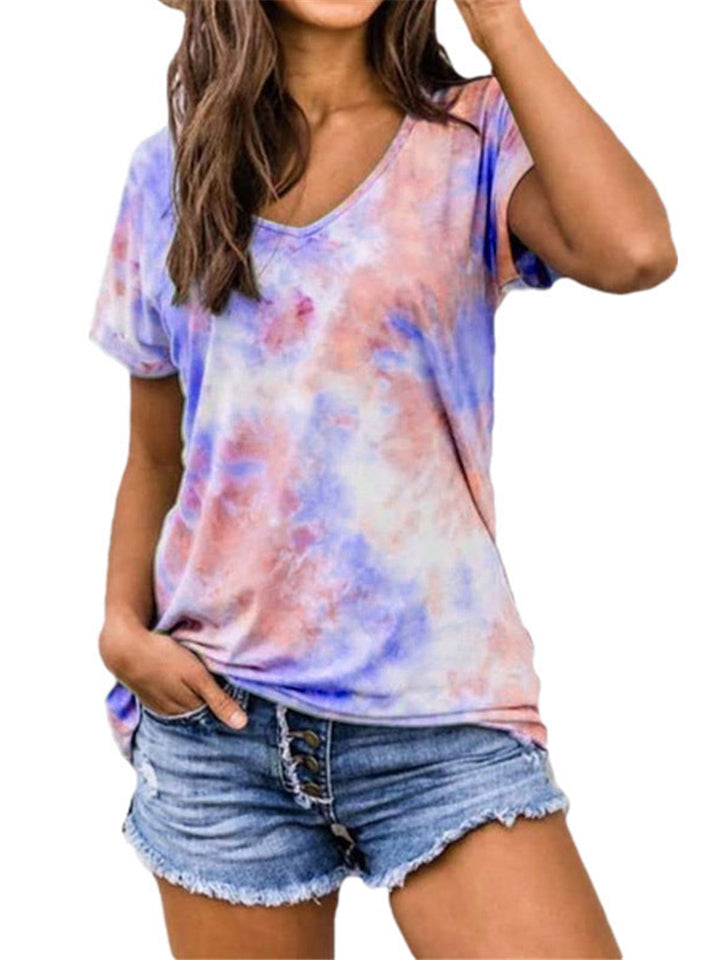 Women's Cute Gradient Color Short Sleeve Loose T-Shirts