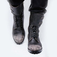 Vintage Double Buckle Leather Motorcycle Tall Boots