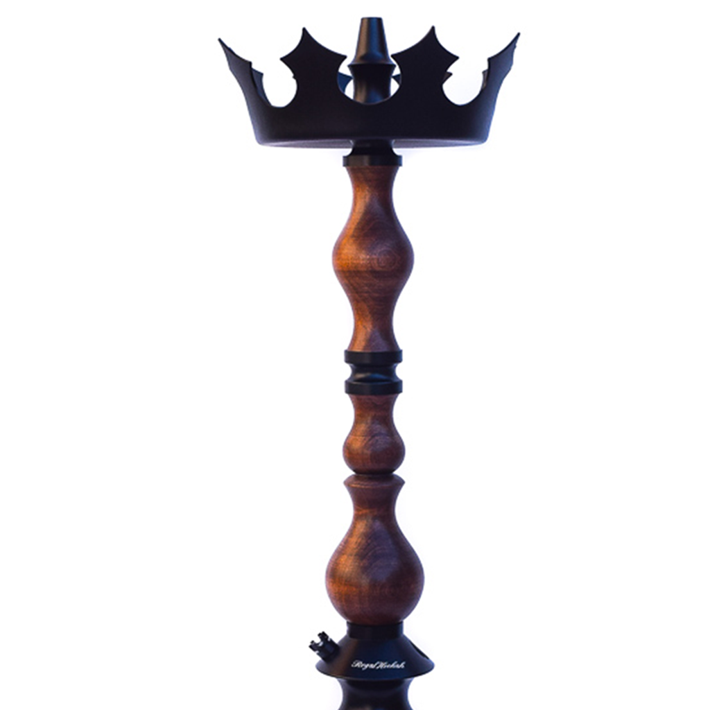 Regal Hookah King Stem - Dark Nut Wood with Crown Regal Tray