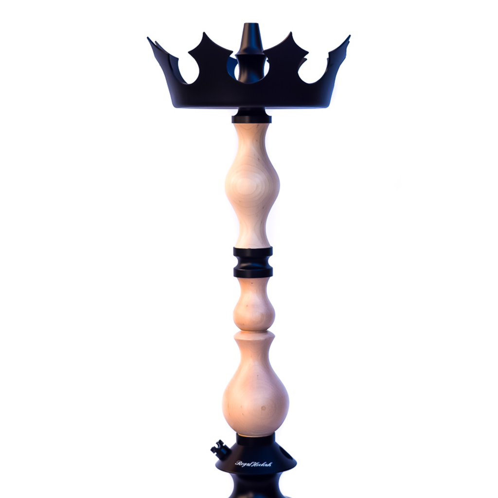 Regal Hookah King Stem - Light Pine Wood with Crown Regal Tray