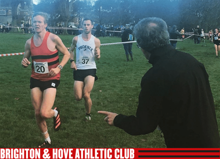 Kevin Moore running for Brighton & Hove Athletics Club at Sussex Cross Country Champs
