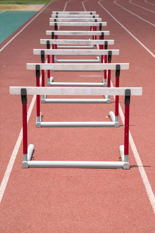 Row of hurdles on a track