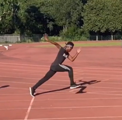 Athlete driving foot forward in acceleration drills