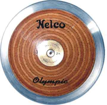 Nelco low spin competition discus with laminated wooden sides and chrome rim