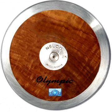 Nelco solid wooden training discus with steel rim and 'Olympic' text