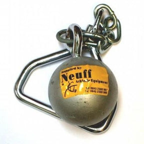 Ball on a chain with handle all made of solid steel.  With a yellow Neuff label.