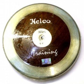 Nelco solid wooden training discus with steel rim and 'Training' text