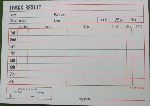 Pad of pressure copy paper for track results.  150 sheets, 8 competitors and windspeed