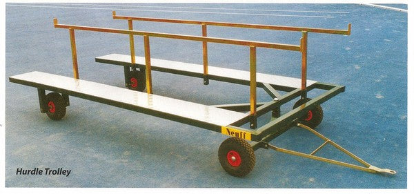 Hurdle trolley to fit up to 10 IAAF/UKA certified hurdles.  With a towing attachment