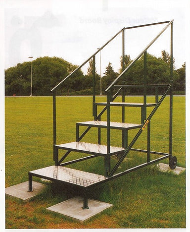 Steel stand with 6 steps for officials to view the finish line with a clear view.  Wheels at the back.