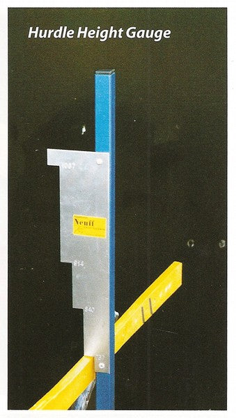 Yellow and blue device for measuing the height of hurdles, with a metal plate showing the different UK hurdle heights