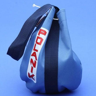 Blue drawstring bag made from heavy-weight fabric with a webbing strap and Polanik logo