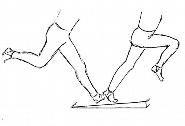 Wedge shaped wooden frame for a raised take off on jump training