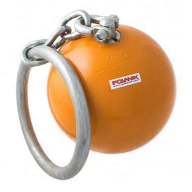 Orange throwing weight adjoined to a circular handle by a chain and swivel.  Manufactured by Polanik