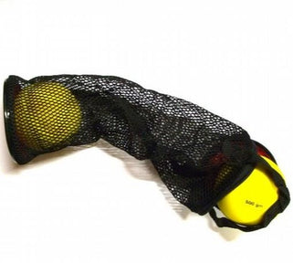 Fine netting mesh bag with carry handle.  Long tubular shape to carry 4 primary or sportshall shot