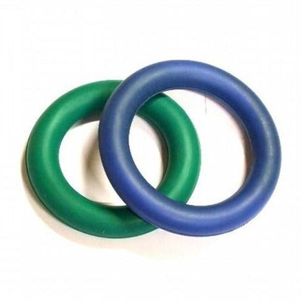 Two round circular quoit rings made of heavy sponge foam.  One blue, one green.