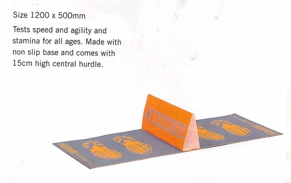 non-slip mat with a 15cm high wedge-shaped hurdle in the centre to jump over for jump training.  Footprint design on either side of the hurdle