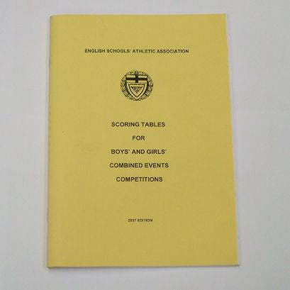 Pale yellow book.  Scoring tables for boys and girls combined events competitions