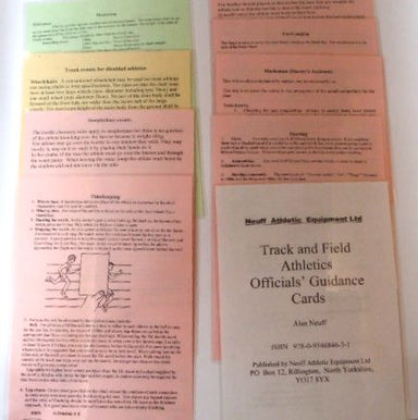 A set of coloured laminated A5 cards, containing informaiton on judging, timing and starting track and field athletics events