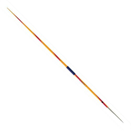 Nordic Eagle javelin.  Yellow body with maroon strip rotating down the length and dark grip cord