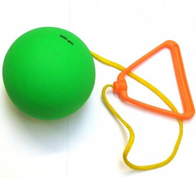 Green PVC hammer on a strong cord and orange plastic handle.  For children and young athletes