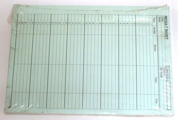Pad of plain paper for cross country and road race results.  150 sheets