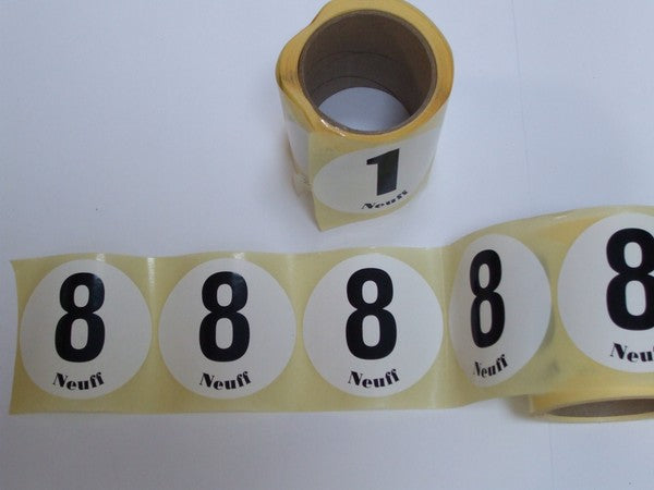 Roll of 100 numbers for leg/lane race numbers.  Single number per roll