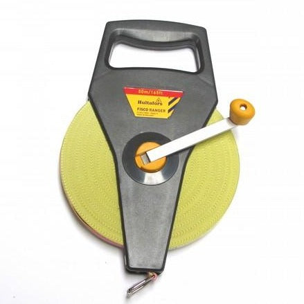 Open reeled tape measure with a holding handle and winding handle