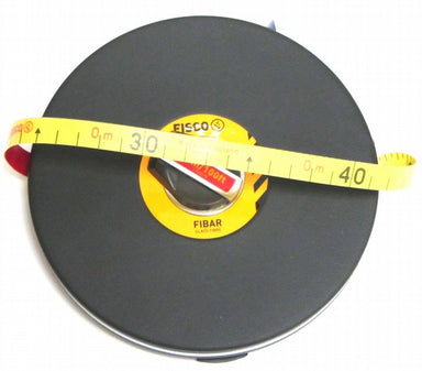 Cased tape measure with yellow tape and winding handle