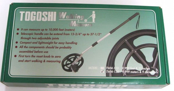 black wheel on a telescopic handle to measure ground distances up to 10,000 metres