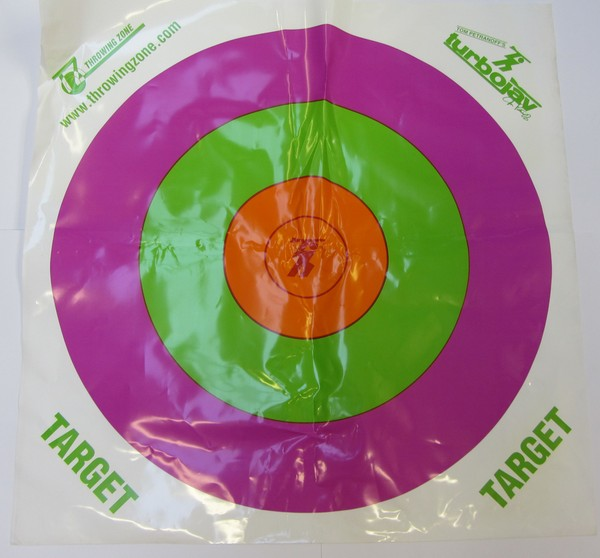 Colourful target printed on durable plastic for turbojavelin training practice
