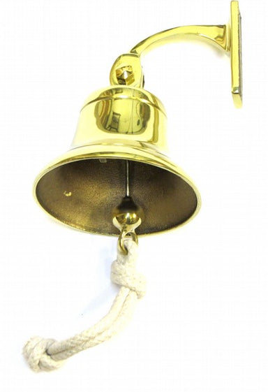 Brass bell with an arm leading to a fixing plate to fit onto a lap score board or other vertical surface