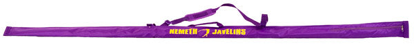 Soft purple carry bag for a javelin.  Made by Nemeth