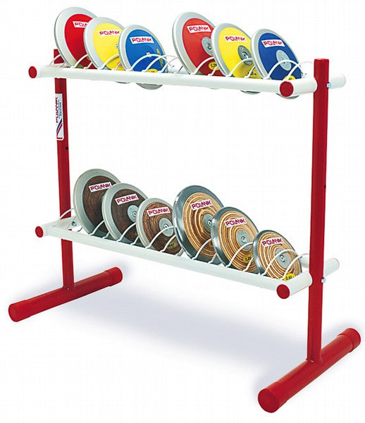 Red and white painted stand with 26 slanted supports to hold discus when not in use. Includes a galvanised handle and wheels to allow the trolley to be stored away from the throwing area.