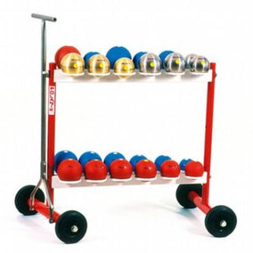 Red and white painted stand with 24 circular supports to hold shot put when not in use.