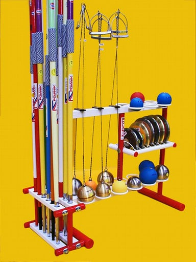 Polanik field events storage rack with capacity to hold 6 throwing hammers, 12 javelins, 7 discus and 12 shot.