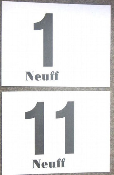 Pin-on numbers for racing.  Pack of 100 numbers of the same number or letter.  Double sided