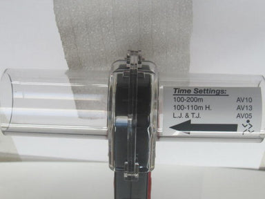Compact wind gauge on a tripod with settings shown for track and field events