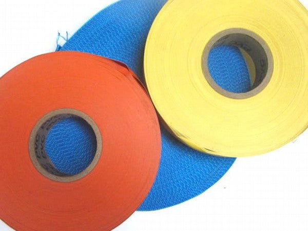 50m of coloured tape for laying on the ground to mark sectors on a playing field on in the centre of a track