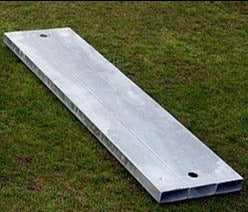 Steel base frame for a long jump or triple jump take off board